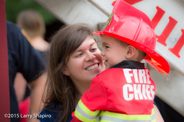 mom and toddler firefighter