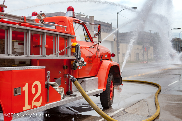 Former US Navy fire engine flowing water