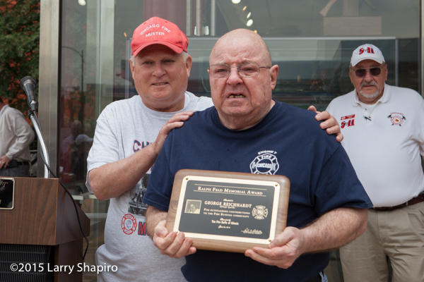Retired Chicago FD District Chief Jack Connors and Ralph Feld memorial award recipient George Reichardt