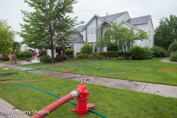 fire hydrant in yard of house of fire