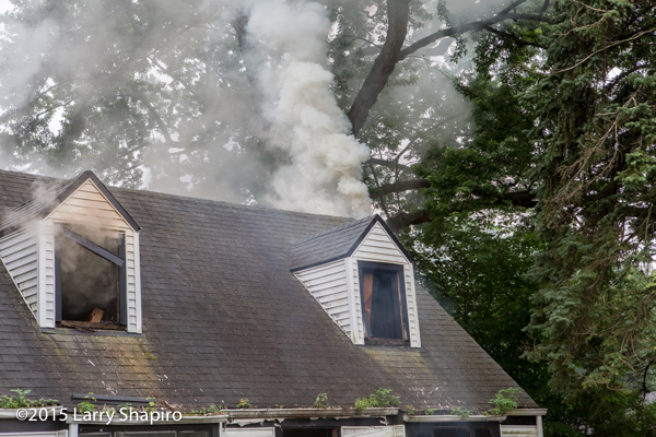 smoke from attic of house pn fire