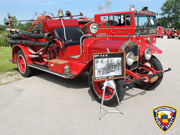 antique fire engine at a muster