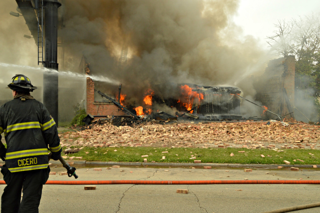 commercial building demolished by fire