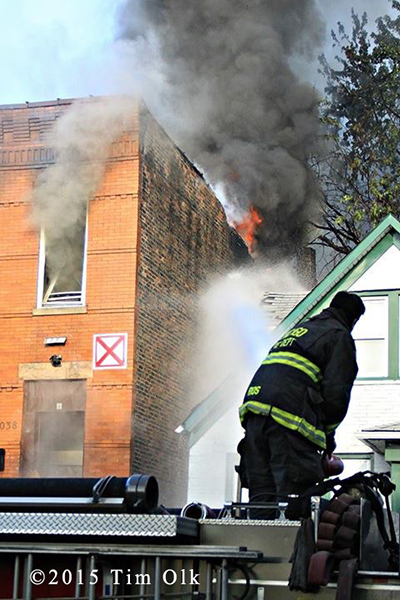 fireman uses deck gun at Chicago fire