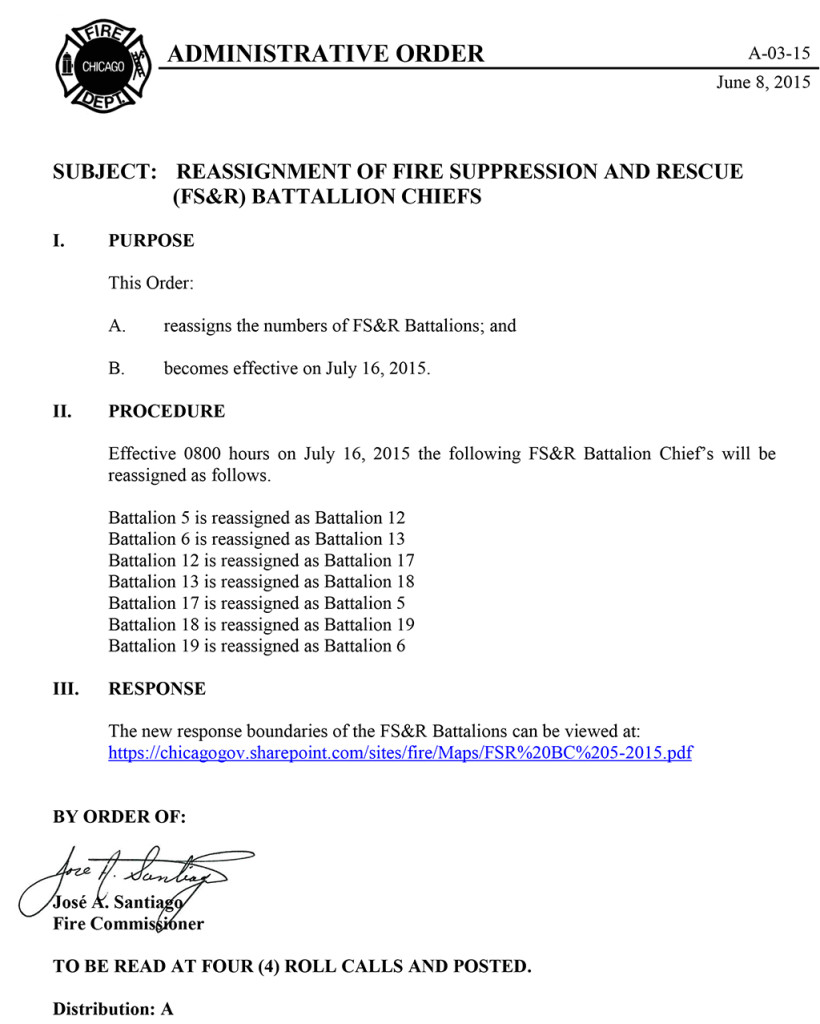 Chicago FD Administrative order A-03-15
