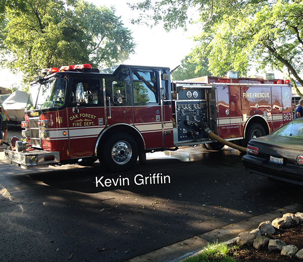 Oak Forest fire engine at a fire scene