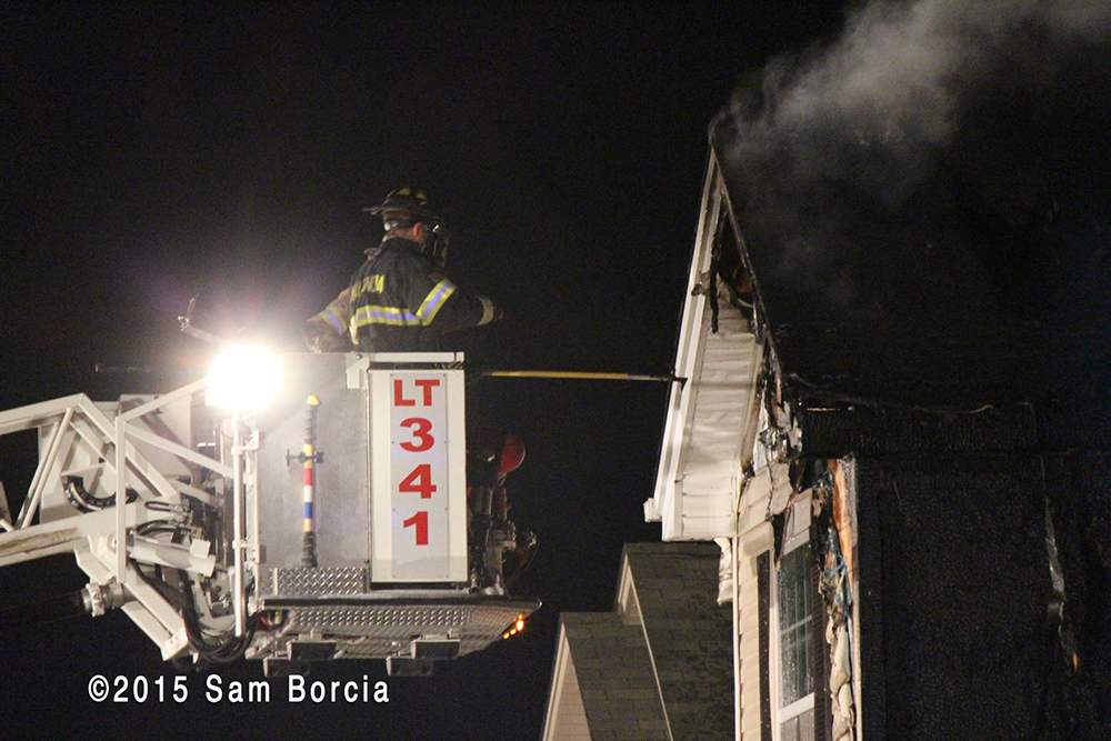 townhouse fire at night