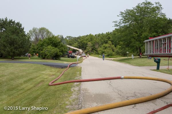 long lay of large diameter hose at fire scene LDH