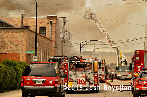 2-11 alarm fire scene in Chicago
