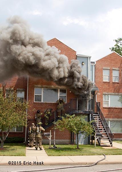 heavy smoke from apartment windows