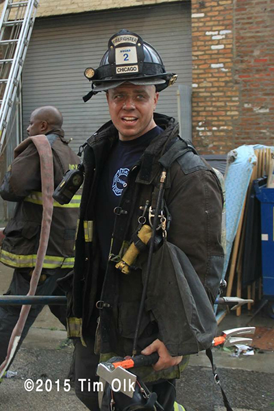 CHicago firefighter after battling a fire
