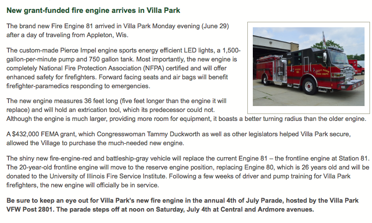 new fire engine for the Villa Park FD