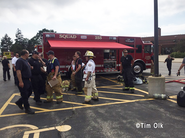 firefighters at the scene of a hazardous materials incident