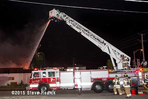 tower ladder at night fire scene