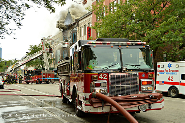 Chicago fire Engine 42 at fire scene