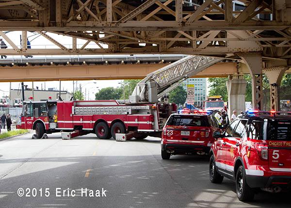 Chicago fire trucks at train derailment