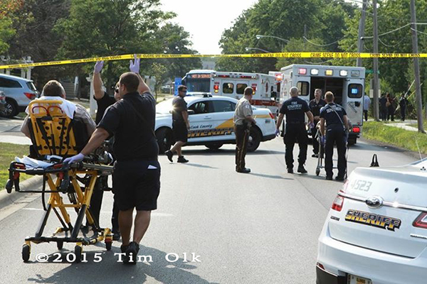 injured police officers being transported to the hospital