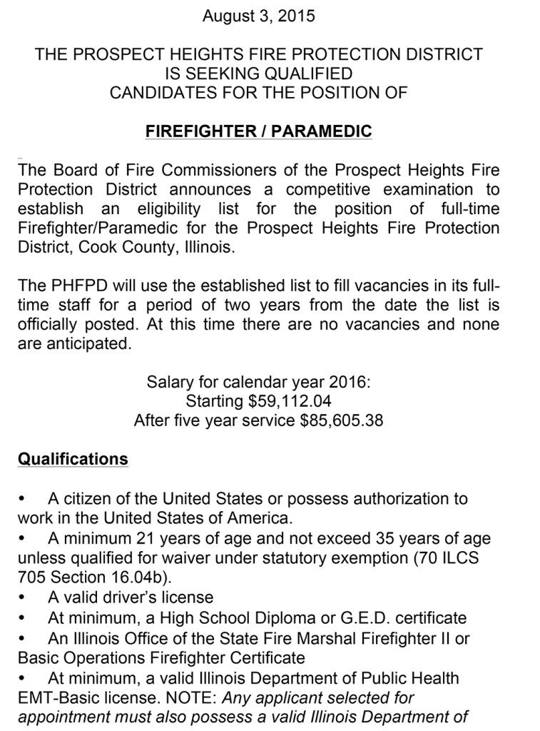 Prospect Heights FPD Prospect Heights FPD Full Time FF Eligibility List