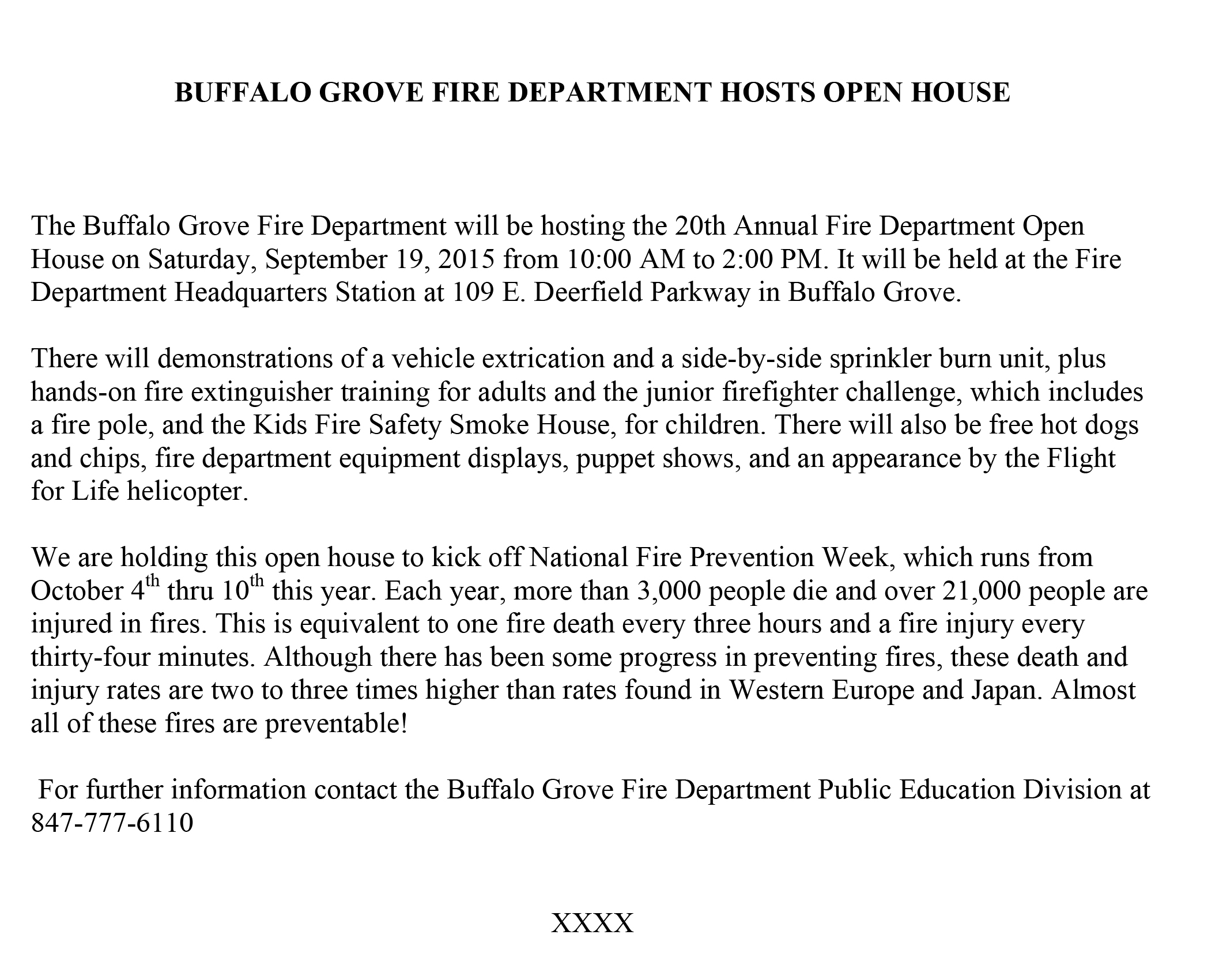 Microsoft Word - Buffalo Grove open house 2015 press release.doc