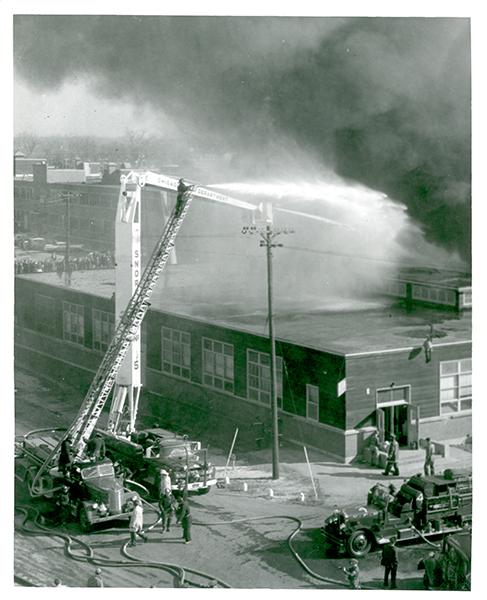 Vintage Chicago fire scene