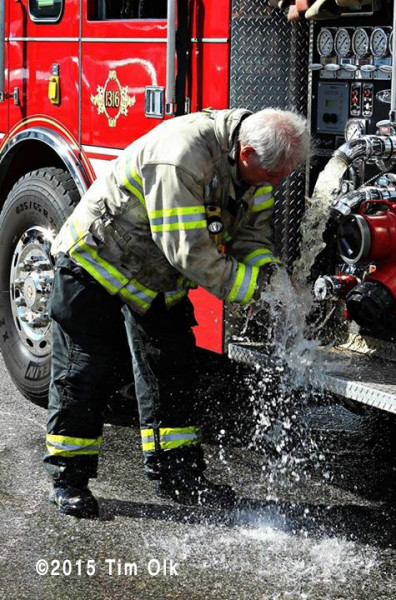 fire chief cools off with water