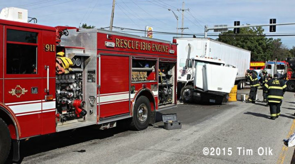 fire engine at scene of truck crash