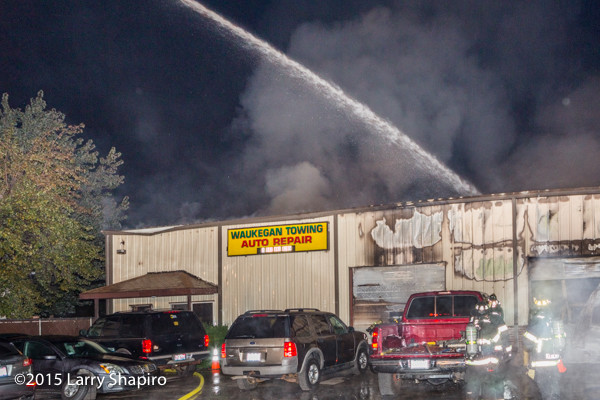 auto repair shop fire in Waukegan