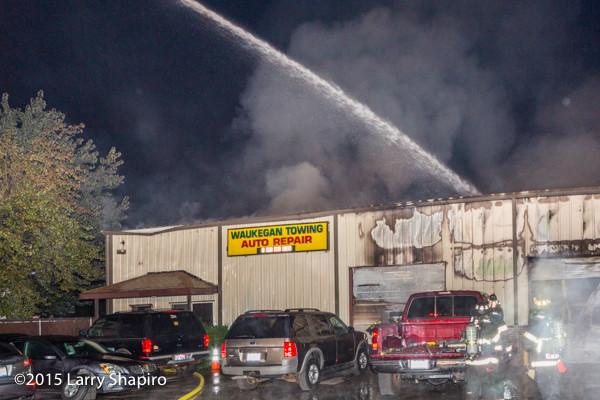 auto repair shop fire in Waukegan