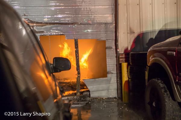 fire in an auto repair shop