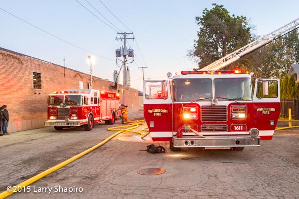 Seagrave fire trucks at fire scene