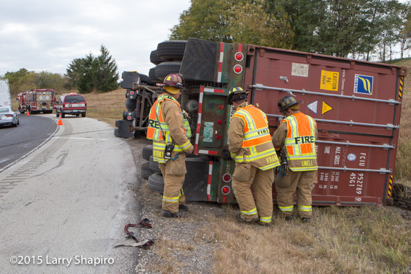 tractor-trailer roll over