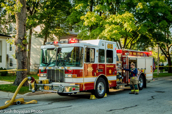 Oak Park FD fire engine at a fire scene