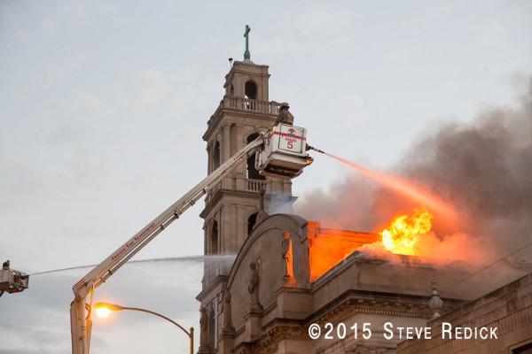 Chicago firefighters battle a church fire