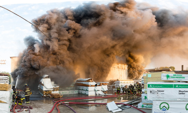 lumberyard fire in Chicago