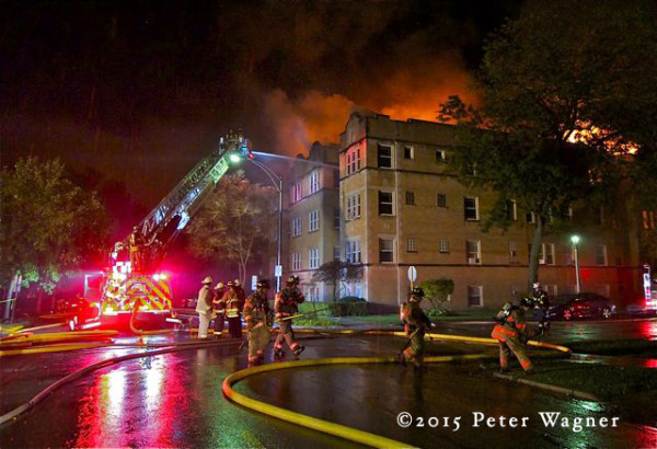night apartment building fire scene