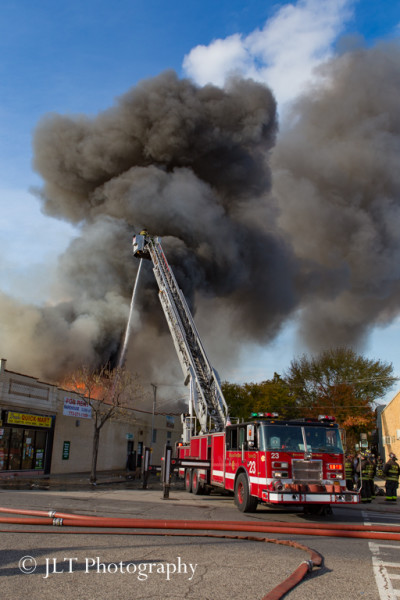 big fire scene in Chicago