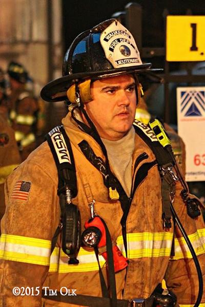 fireman at night fire scene