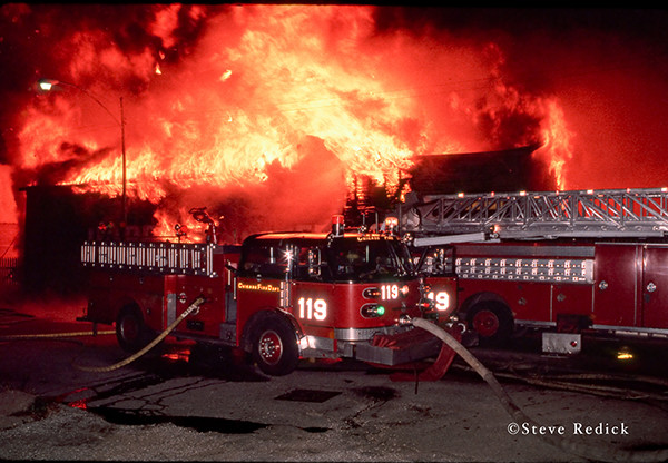 huge lumber yard fire in Chicago