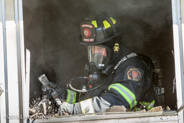firefighter overhauls window