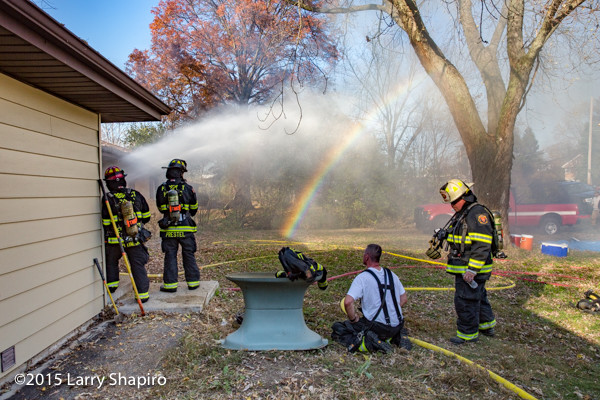 rainbow at house fire scene