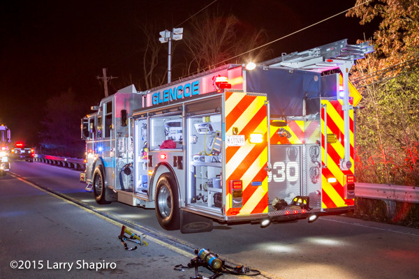 Pierce Saber rescue pumper at night