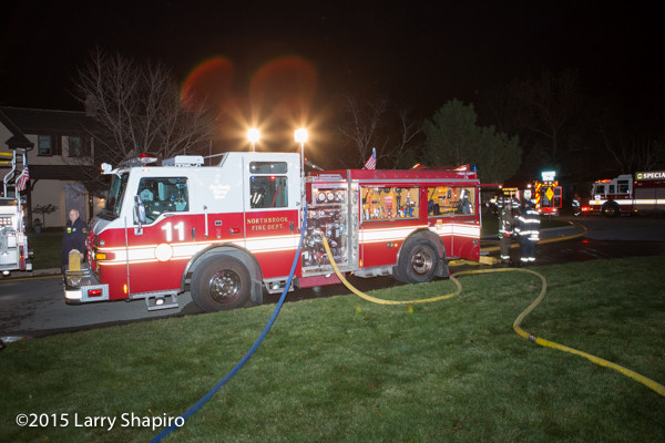 Pierce Impel fire engine at night fire scene