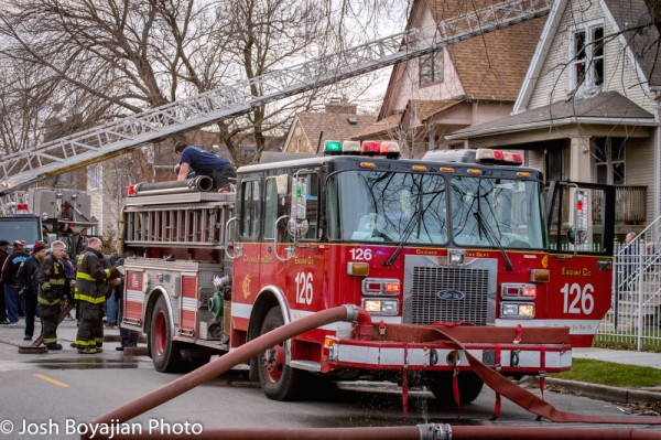 Chicago fire engine after a fire