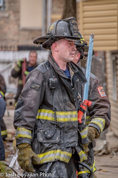 Chicago firefighter after fighting a fire