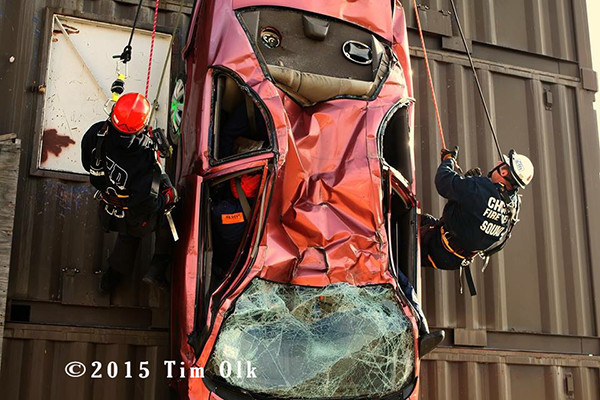 high-angle rescue training for firefighters