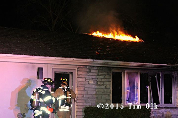 night house fire scene