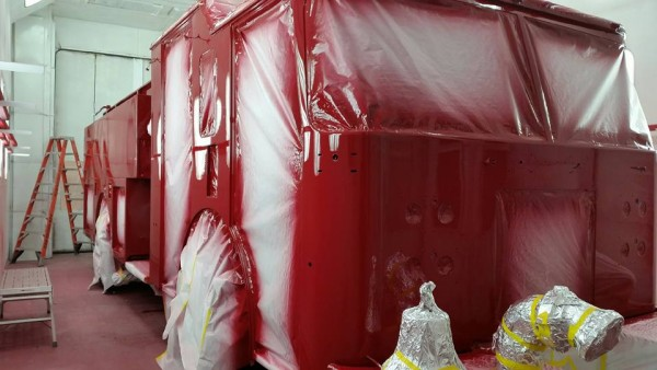 fire truck in paint booth