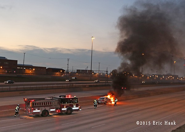 a car fire on the expressway