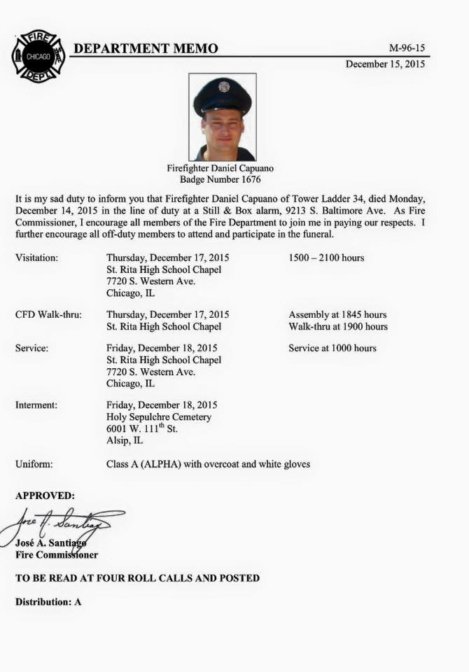 Chicago FD LODD Firefighter Dan Capuano, 12-14-15 (more)