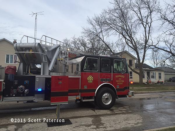 Sutphen fire truck at fire scene